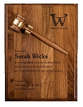 Genuine Walnut Gavel Plaque, 9 x 12