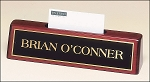 Business Card Holder Nameplate in Rosewood Piano-Finish